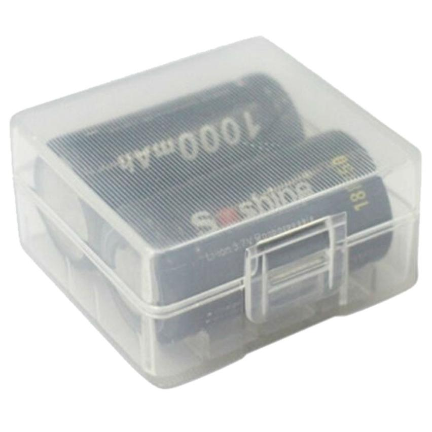 HL 2017 high quality 2PCS Transparent Hard Plastic Battery Case Box Holder For 2 x 18350 Battery JAN17 #4