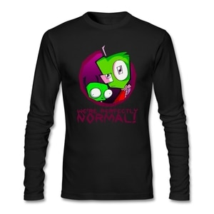 XS-3XL Size  Trends We're Perfectly Normal T-Shirt Mens Gray Camisa Customised Invader Zim Gir Alien for Big Boy