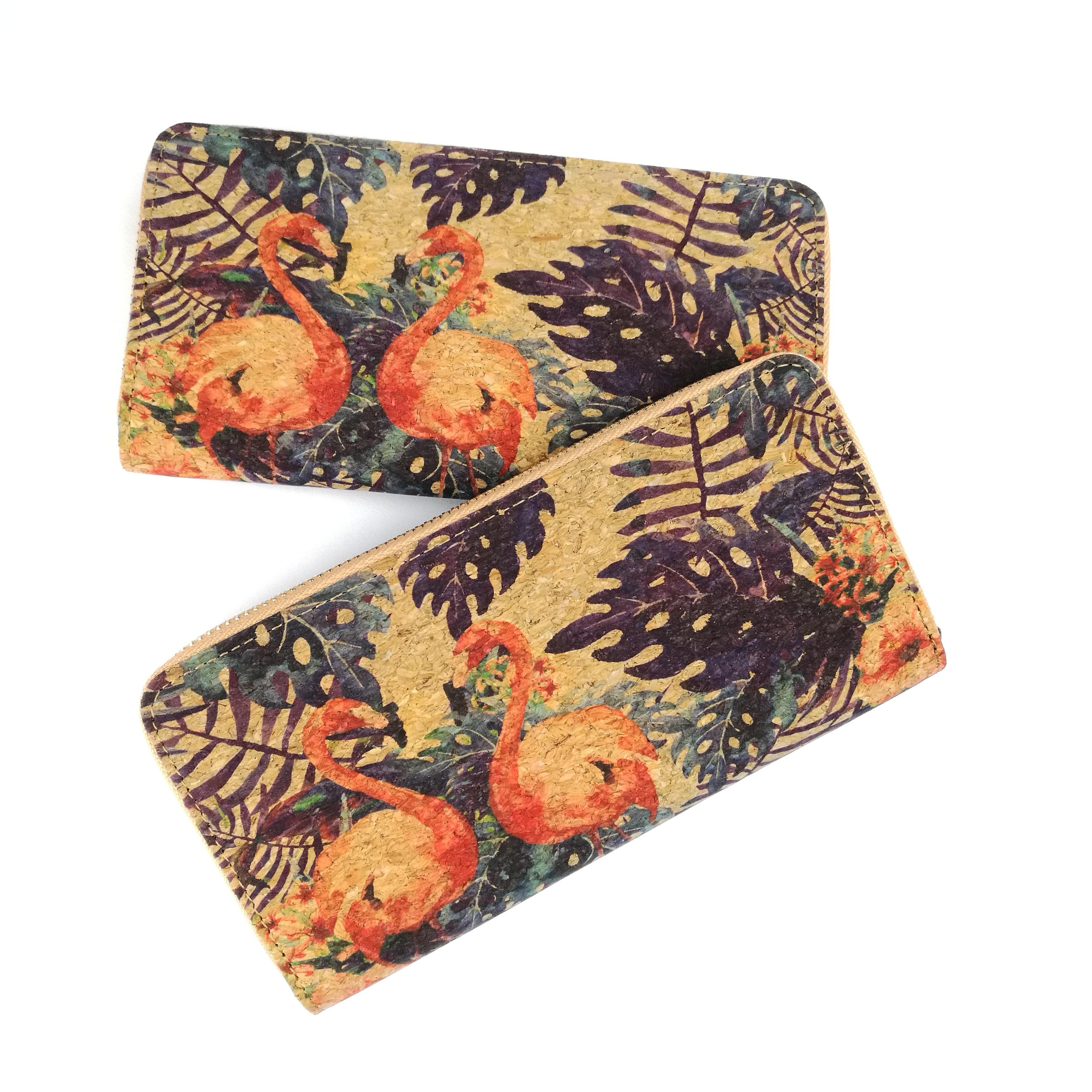 Женские пробковые бумажники с тропическим фламинго