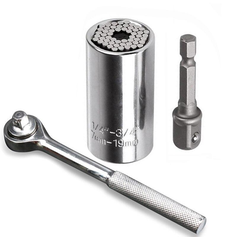Universal Tomada Torquímetro Conjunto Cabeça 7-19 milímetros Poder Broca Bucha Manga Catraca Chave Inglesa Chave Durável Chave Mágica ferramentas manuais
