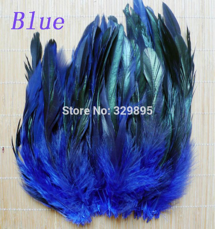 Venda quente! 100 pcs 5-8 /12.5-20 cm Cor Azul Pintado Badger Saddle Galo pena para Artesanato decorações de sapato DIY faisão plumss