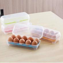Boîte à œufs en plastique   Fournitures de cuisine, 10 grilles, boîte de rangement de réfrigérateur à œufs transparente, conteneur alimentaire Portable pour lextérieur