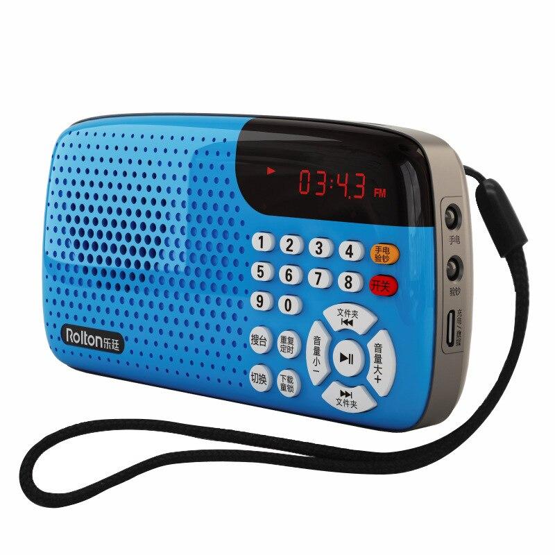 Rolton w105 rádio portátil mini estéreo display led usbtf grandes alto-falantes entre idosos exercício de manhã cantando máquina