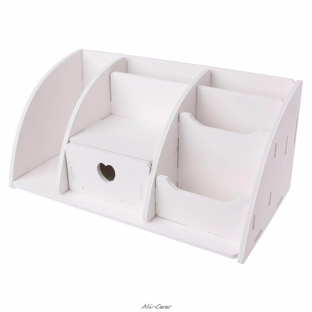 White DIY Wooden Desk Makeup Organizer Storage Drawer 6 Compartments Office Supplies Home Storage Case