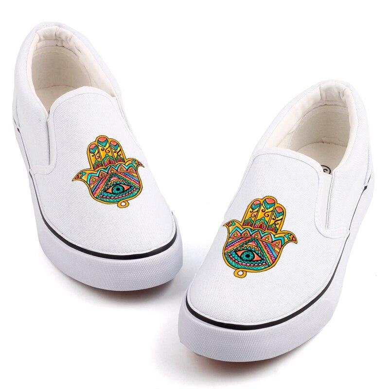 E-LOV budismo religión impreso mujeres lona zapatos Graffiti Namaste etiqueta Logo personalizar parejas mocasines Chatos informales
