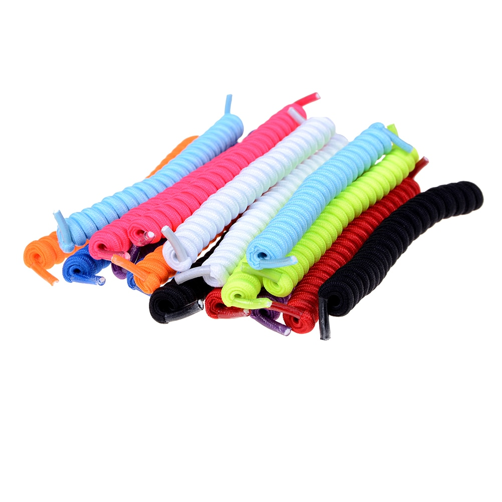 1Pair Curly Elastic Shoelaces No Tie Trainer Kids Shoe Laces Colours for Childs and Adults Best in S