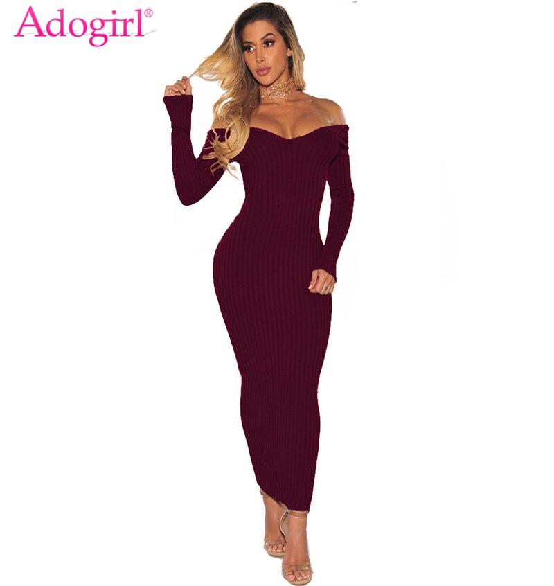 Adogirl femmes nervuré Maxi robe Sexy col en V à manches longues hors épaule moulante longues robes de soirée Bandage tenue de club liquidation vente