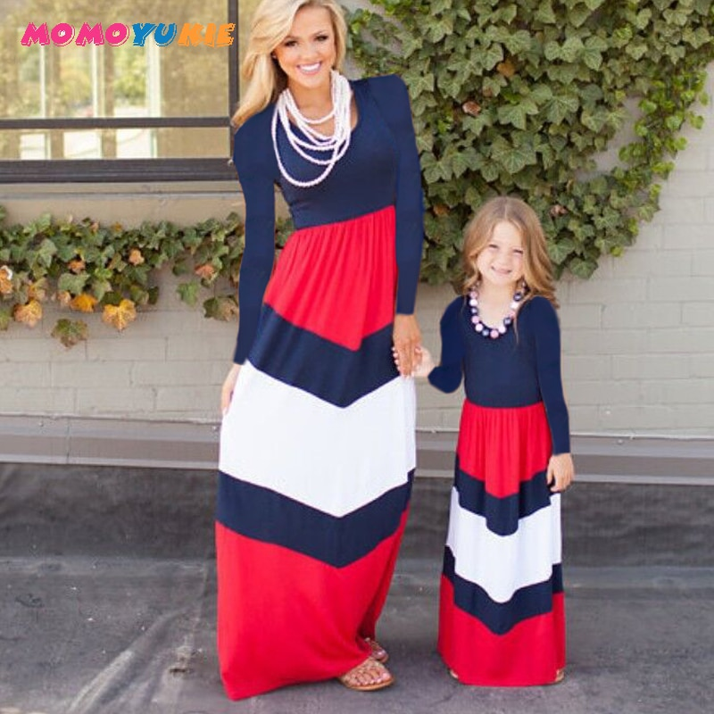 Mommy and me family matching mother daughter dresses clothes striped mom dress kids parent child outfits look clothing
