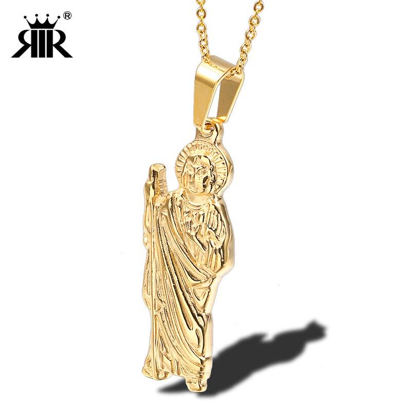 Collar con colgante de St Jude Thaddeus, collar de oro de acero inoxidable de Saint Jude Thaddeus, Jesús, joyería religiosa para hombres, collares