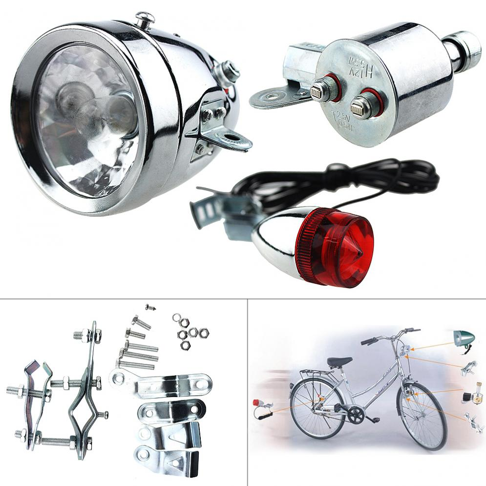 12V 6W bicicleta Universal motorizada bicicleta fricción generador Dinamo faro luz trasera Kit