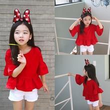 T-shirt manches trompette rouge   Printemps, été, T-shirt manches pour bébés filles, vêtements enfants bambins filles vêtements manches