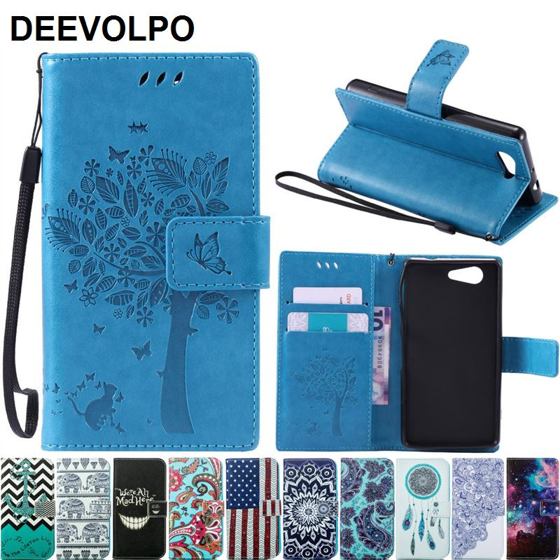 For Coque Sony Xperia M4 Z5 Z3 Mini Leather Case For Fundas Z5 Z3 Compact Case Z3 Mini D5803 M55W Phone Flip Tree Cat Cover D06Z