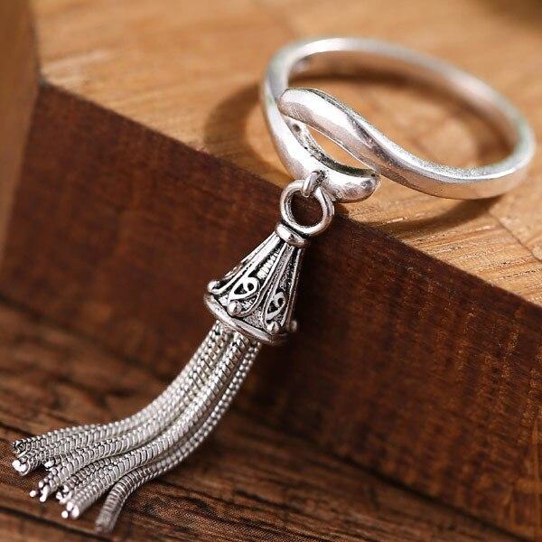 Moda novedosa anillo de barque real, cadena larga, anillo de cola de borla de plata vintage para accesorios de mujer