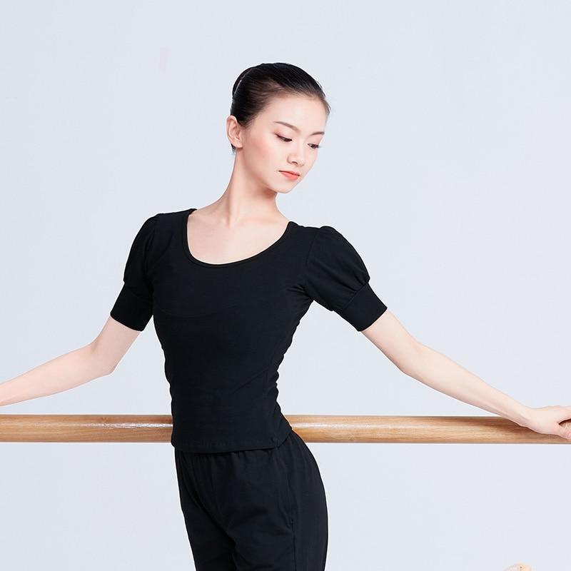 Adult Black Lantern Sleeve Ballet Dance Tops Women Yoga Modern Dance Shirts Ballerina Dancewear For Women
