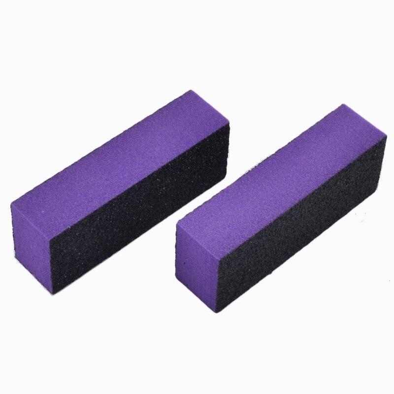 2 uds bloque púrpura lima de uñas Buffer 3 maneras esponja para lijar pulido uñas arte manicura salón DIY herramientas para el cuidado de las mujeres set