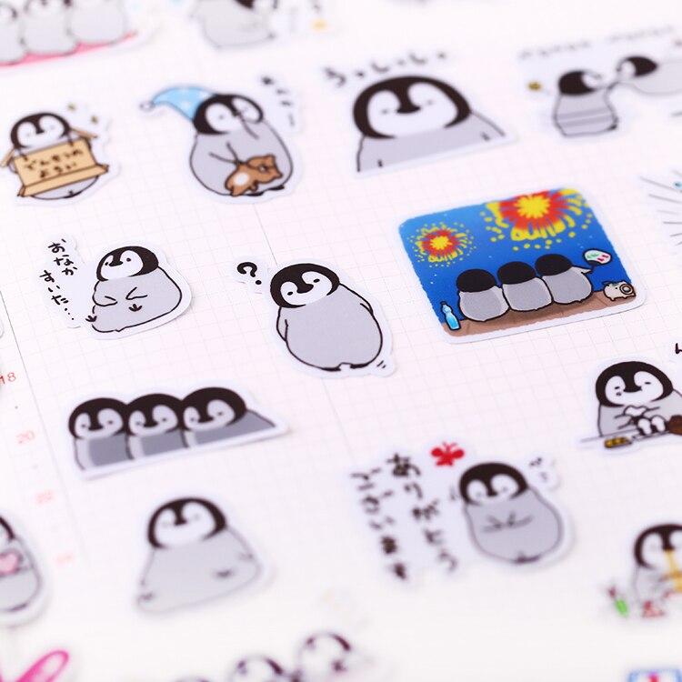 40 Stks/pak Leuke Handbook Self-Made Pinguïn Stickers Lijn Leuke Koreaanse Decoratie Cartoon Dagboek Materiaal/Waterdicht Stickers