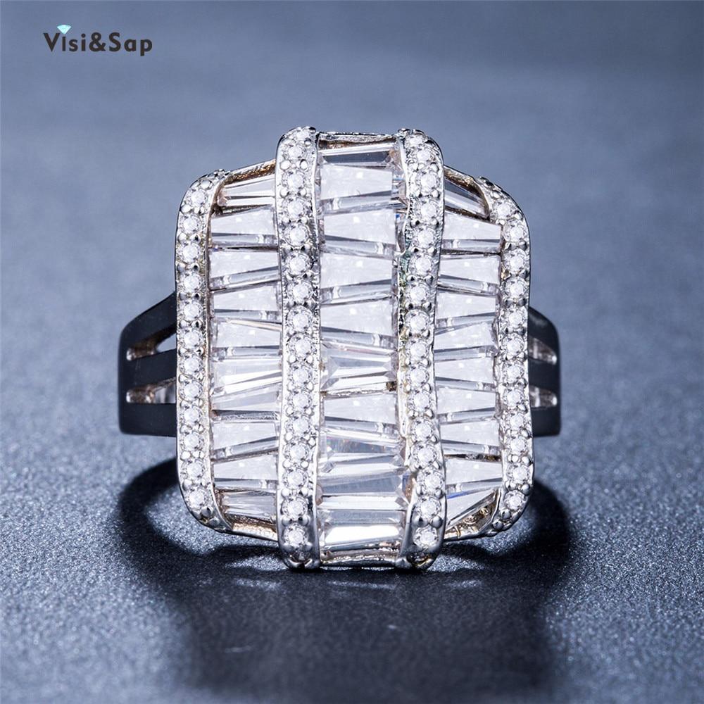 Женские кольца Visisap Hyperbole, роскошные кольца с кубическим цирконием класса ААА, ослепляющие кольца из циркония от производителя B838