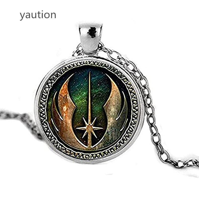 Litter Star Jedi Order Logo Emblem Pendant Necklace Inspired Pendant Necklace Glass Cabochon Necklace