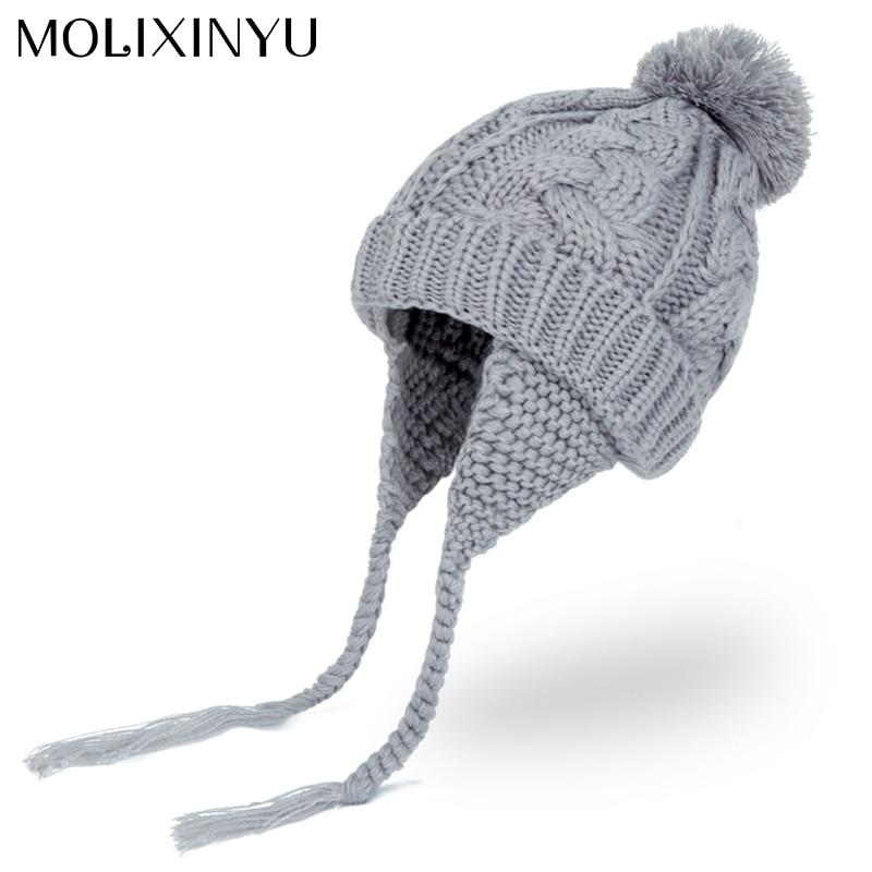 MOLIXINYU Baby Pom pom Winter Hat For Boys Girls Ball Hat Kids Warm Knitted Hat Newborn Beanie Cap Fashion Cute Infant Cap