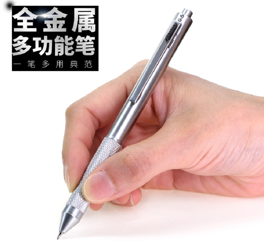 Metal multi-função 3 cor caneta bola com lápis composto caneta escritório estudante caneta negócio criativo caneta pçs/lote
