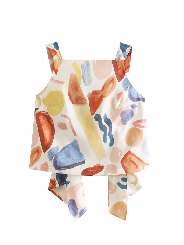 Novas mulheres doce graffiti imprimir ajustável sling chemise blusas femininas blusas camisas sem mangas mulheres verão tops LS3857