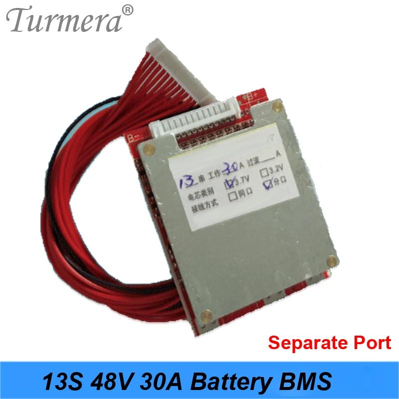 Turmera 3,6 V 3,7 V 13S 48V e-bike batería de iones de litio 18650 20A 25A 30A Li-ion litio 18650 batería paquete Placa de protección BMS