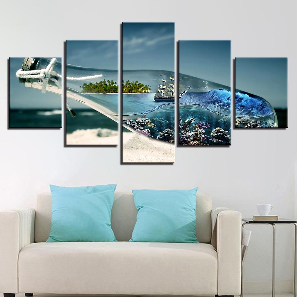 Abstrato moderno HD Impresso Retrato Da Paisagem 5 Garrafa Deriva Do Painel de Pintura Da Lona Arte Da Parede Home Decor Quadro Para Sala de estar
