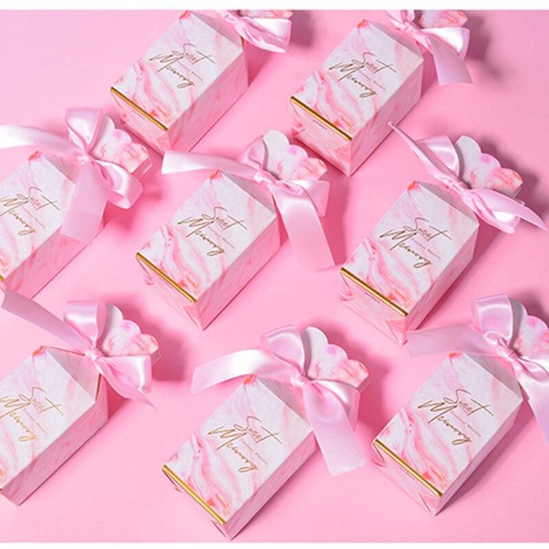 24 pièces nouvelles lignes de marbre rose boîtes à bonbons avec décoration de ruban pour mariage ou fête danniversaire