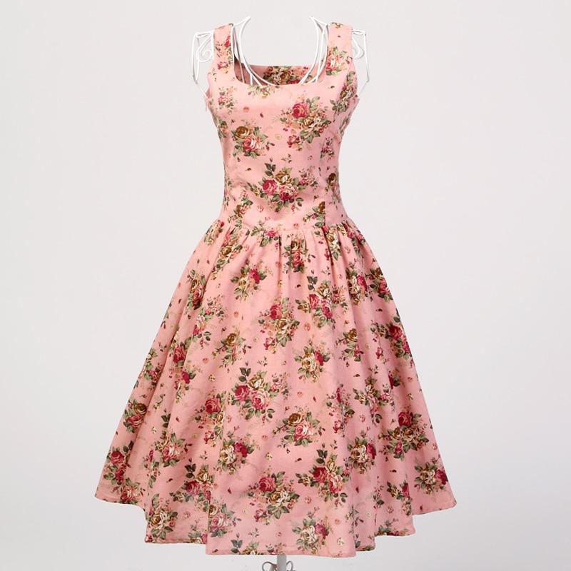 Vestido retro estilo Reino Unido Rosa floral ropa femenina vestidos acampanados vestido curto bohemio rock nroll bata mujer kleider 60 s