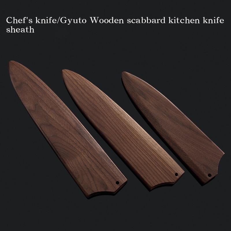 Набор ножей JapaneseGyutoSantokuProtect, набор защитных лезвий, деревянный держатель ножниц, кухонные ножны