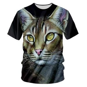 UJWI Man Creative New O Neck Tshirt 3D Printed Interesting Beard Cat Oversized Unisex 6XL Amber Eye Animal T-shirt