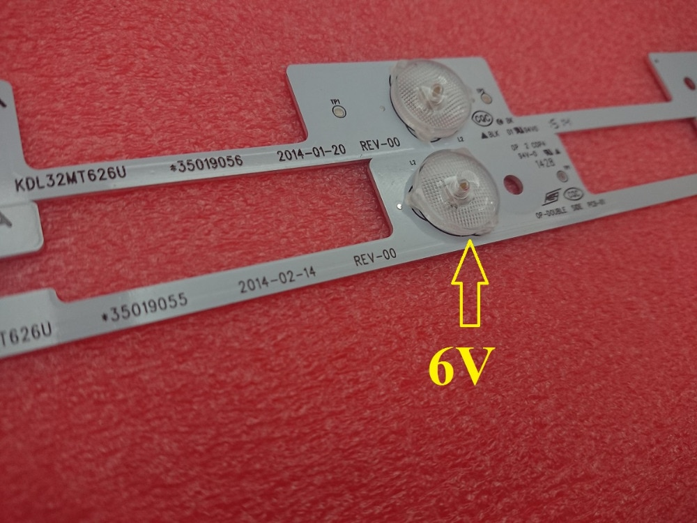Светодиодная лента для подсветки KDL32MT626U 35019055 35019056, 60 шт. (30*3 светодиода * 6 В + 30*4 светодиода * 6 В)
