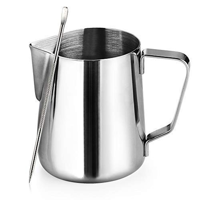 Jarra de espuma de leche de acero inoxidable para Macchiato, Cappuccino, Latte Art, incluye bolígrafo de arte con Latte, 12 oz/350ML
