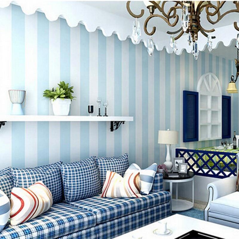 Beibehang duvar kağıdı Rahat Yatak Odası Vinil Duvar Kağıdı Mavi Beyaz Şerit duvar kağıdı Duvar Kağıdı Rulo Modern Özellik Dikey Çizgili R10