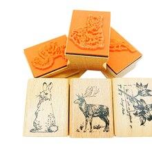 1 pièces/lot belle forêt animaux timbres décoratifs bois estampage artisanat cadeaux tampon en caoutchouc