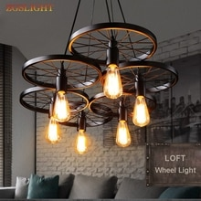 Vintage Industrial Lamp Russia Pendant Light Nordic Metal Wheel Lights Loft Dining Room Lighting for Chirstmas Wedding Decor