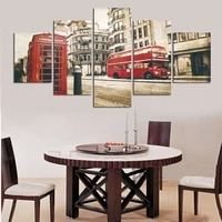 hd printed pictures unframed canvas wall art 5 pieces red bus telephone booth city street view home decoration painting poster