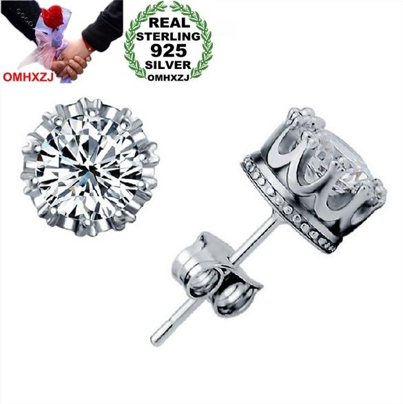 Omhxzj atacado moda jóias coroa de cristal natural aaa zircon 925 prata esterlina brincos do parafuso prisioneiro ys29