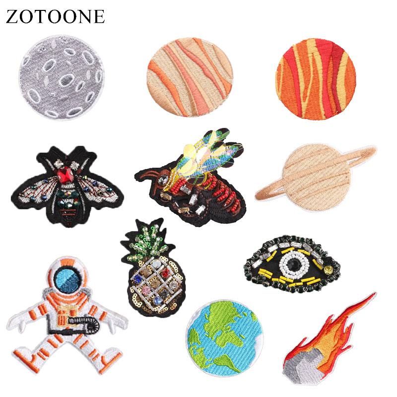 Zotoone 惑星パッチ宇宙飛行士ステッカー diy アイアン服熱転送アップリケ刺繍アプリケーション布生地グラム