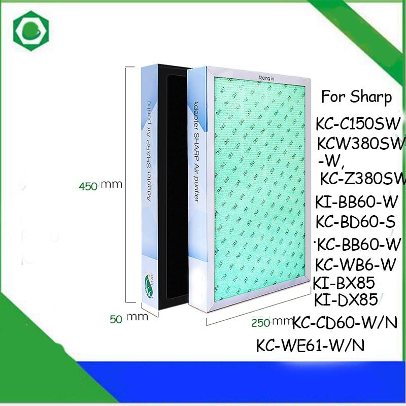 45*25*5cm Air Purifier Filter for Sharp KC-C150SW KC-W380SW-W KC-Z380SW KI-BB60-W KC-BD60-S KC-BB60-W Air Purifier hepa carbon filter fz d50hfe fz d50dfe for sharp kc d40 kc g40 kc d50 kc g50 kc e40 kc f40 kc e50 kc f50 air purifier