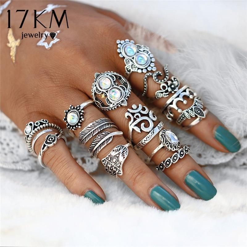 Женский винтажный набор украшений, кольцо на палец с опаловым кольцом, 17 км, кольца с изображениями сердца, короны, женские Украшения в стиле...