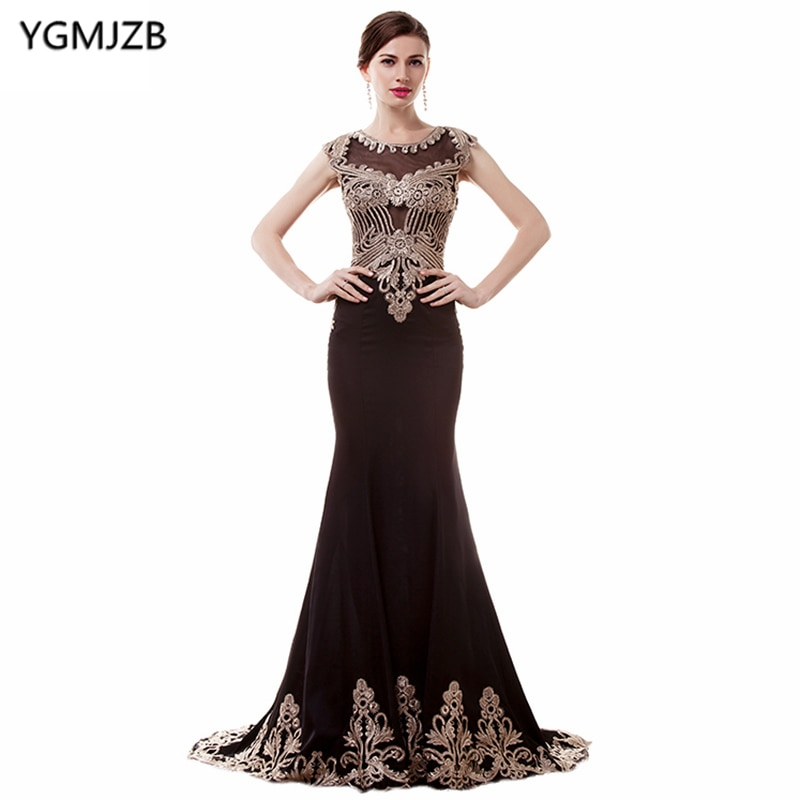 See Through Black Evening Dresses 2019 Mermaid Cap Sleeve Sheer Back Appliques Lace Prom Dress Luxury African Gown