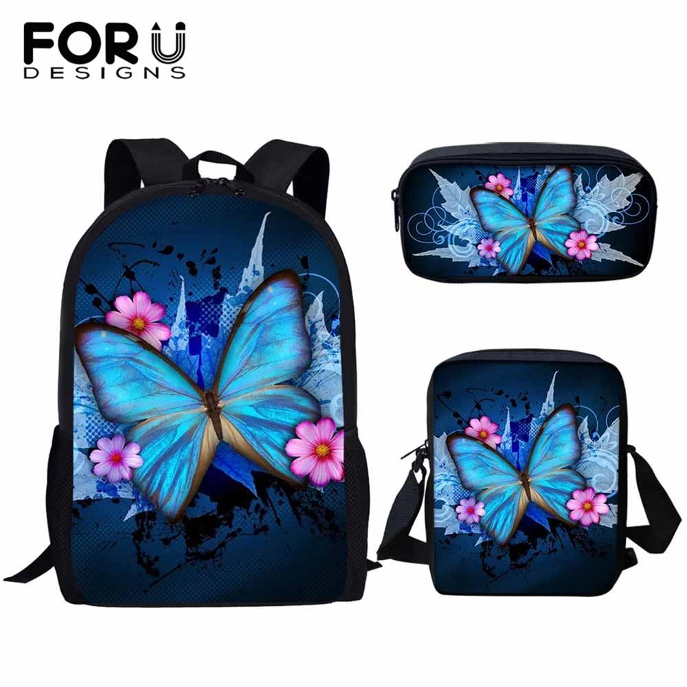 FORUDESIGNS 3D belleza mariposa patrón de animales uds/set niñas mochilas escolares para estudiantes niños mochila escolar mochilas de libros para niños