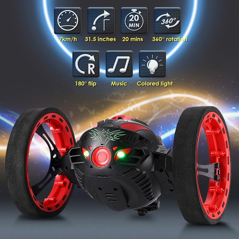 Mini coches rebote coche PEG-88 2,4 GHz RC coche con ruedas flexibles rotación LED luz Control remoto saltar coche rebote niños regalos