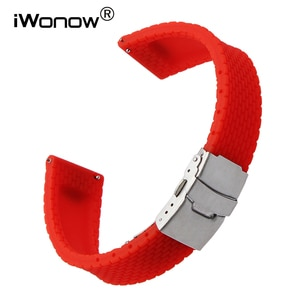 22mm Quick Release Silicone Rubber Watchband for LG G Watch Urbane W150 Asus ZenWatch 1 2 Men WI500Q WI501Q Wrist Band Strap