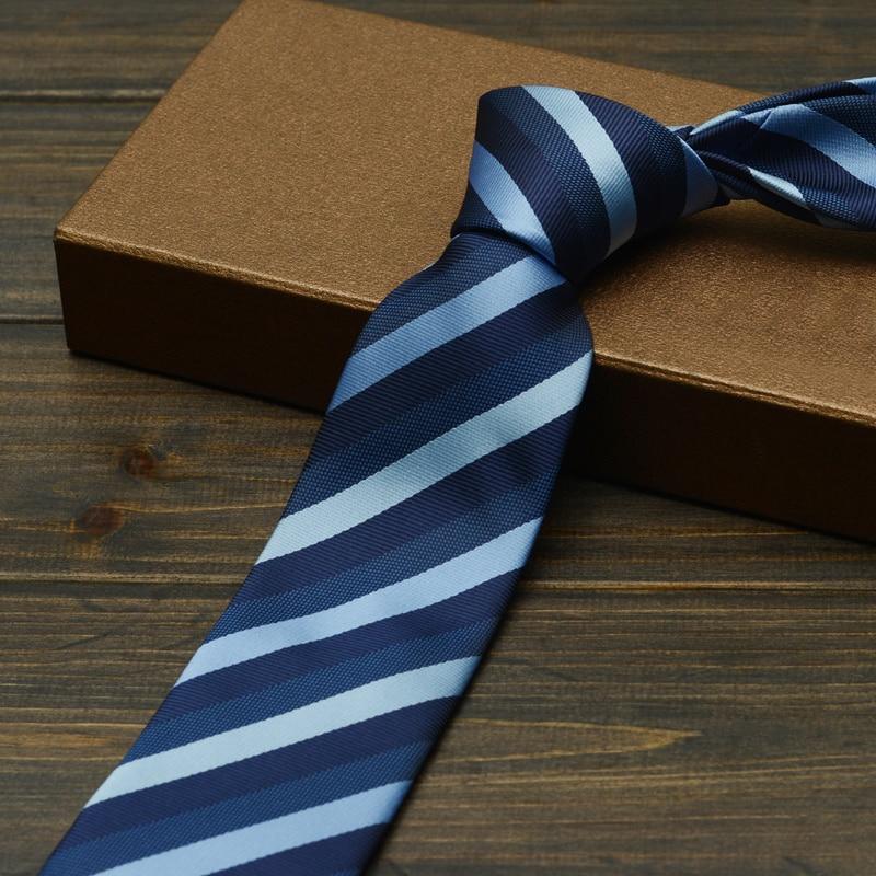 Brand Ties 2019 New Men's Business Ties 7cm Classic Blue Stripe Wedding Ties for Men Profession Interview Necktie with Gfit Box