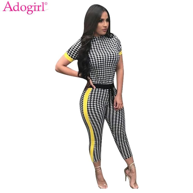 Adogirl 2018 Trendy Houndstooth Print Frauen Sommer Overalls Kurzarm Top knöchellangen Hosen Jumpsuit Verband Damen Strampler