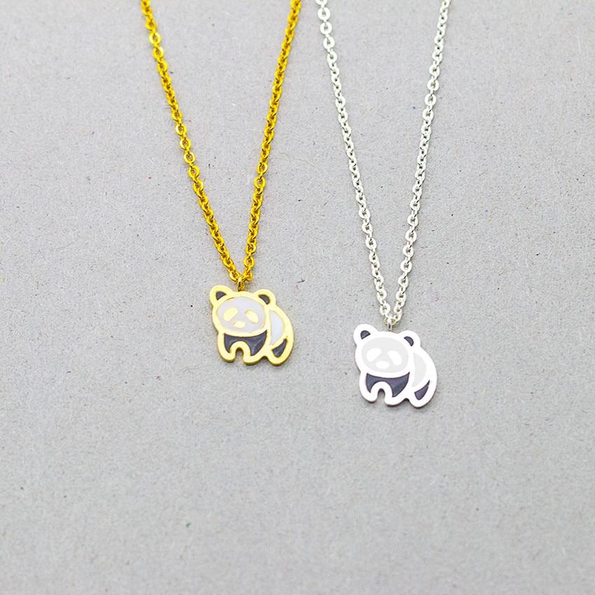 DIANSHANGKAITUOZHE Panda Linda Gargantilla Collar Mujeres 2 colores Chocker Declaración Largo Collar de Colgantes Collares Collier