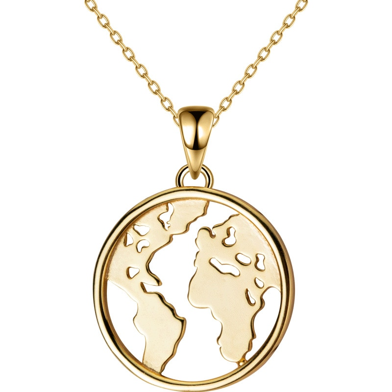 18 k plaqué or jaune 17 MM 100% argent Sterling véritable 925 bijoux fins carte collier pendentif cercle GTLX1823