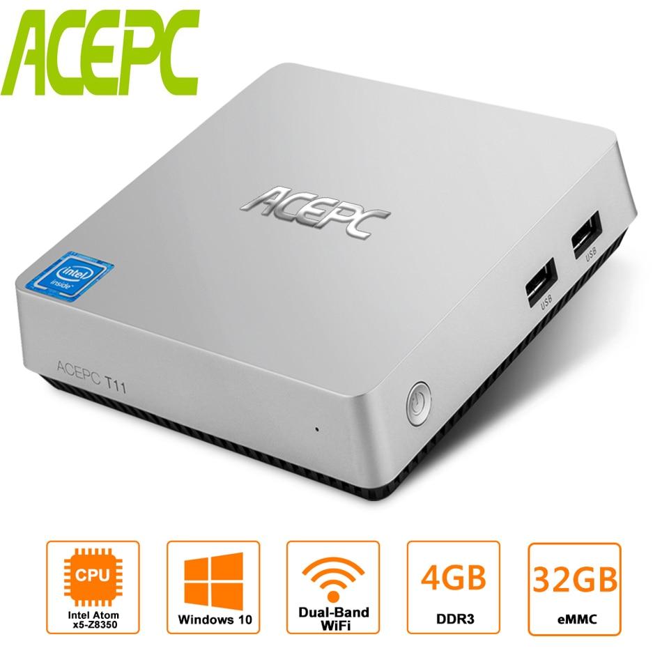 T11 Z8350 MINI PC Win10 Intel Atom Z8350 1,92 GHz 4 GB RAM 32 GB EMMC Windows 10 HDMI VGA 2,5 pulgadas HDD Win10 caja de TV inteligente